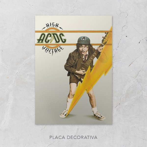 Quadro Placa Decorativo Banda AC/DC High Voltage Amarelo