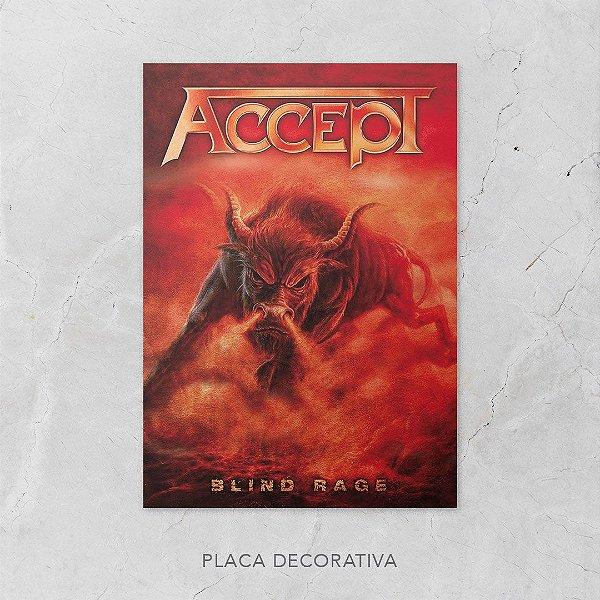 Quadro Placa Decorativo Banda Accept Blind Rage Vermelho