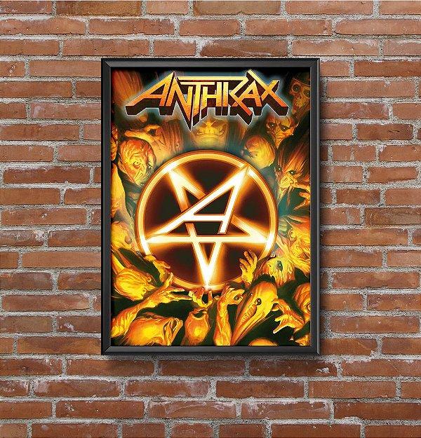 Quadro Placa Decorativo Banda Anthrax Workship Music Amarelo