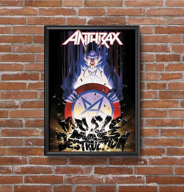 Quadro Placa Decorativo Banda Anthrax Music Of Mass Destruction Preto