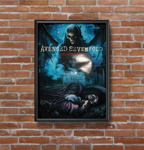 Quadro Placa Decorativo Banda Avenged Sevenfold Nightmare Preto & Azul