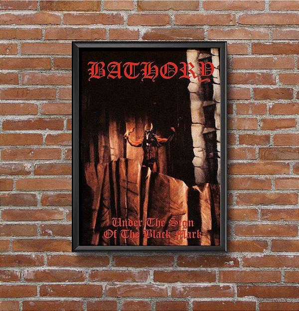 Quadro Placa Decorativo Banda Bathory Under The Sign Of The Black Mark Preto & Vermelho
