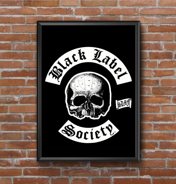 Quadro Placa Decorativo Banda Black Label Society Preto & Branco