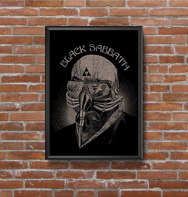 Quadro Placa Decorativo Banda Black Sabbath Never Say Die Preto & Branco