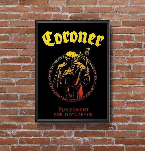 Quadro Placa Decorativo Banda Coroner Punishment For Decadence Preto & Amarelo