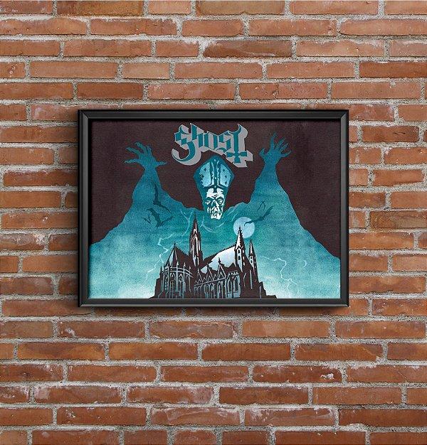 Quadro Placa Decorativo Banda Ghost Opus Eponymous Preto & Azul