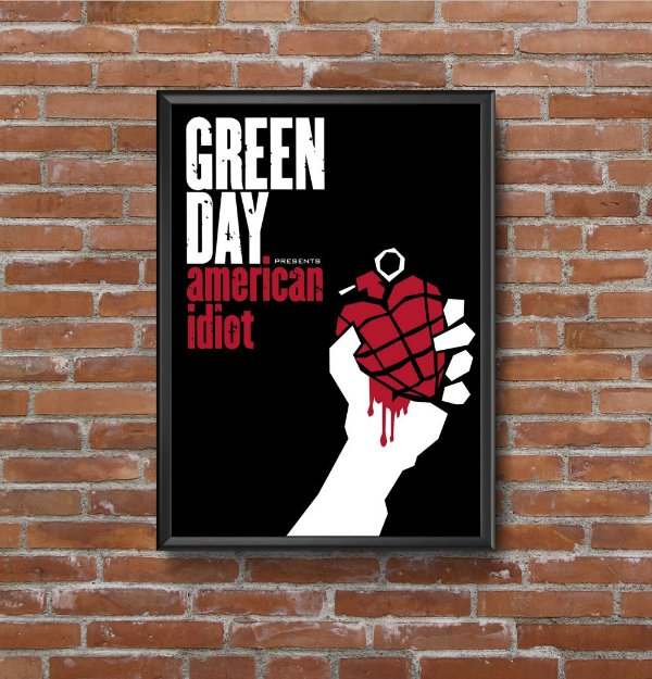 Quadro Placa Decorativo Banda Green Day American Idiot Preto & Branco