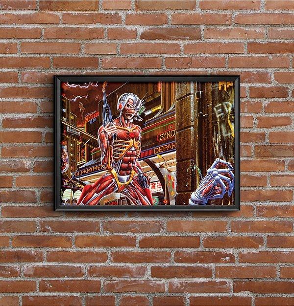 Quadro Placa Decorativo Banda Iron Maiden Somewhere In Time Vermelho & Marrom