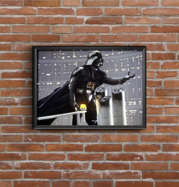 Quadro Placa Decorativo Darth Vader Star Wars Preto & Azul