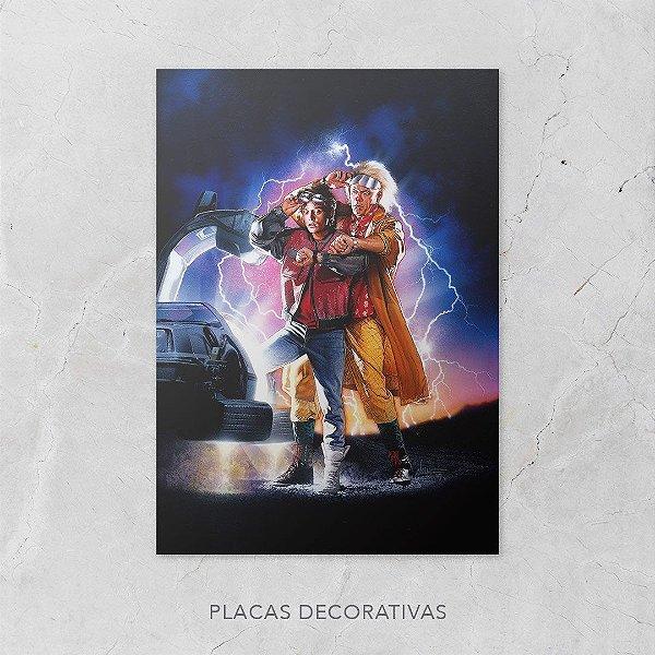 Quadro Placa Decorativo Filme De Volta Para O Futuro Marty McFly & Doctor Brown Azul & Vermelho