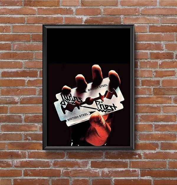 Quadro Placa Decorativo Banda Judas Priest British Steel Preto & Prata
