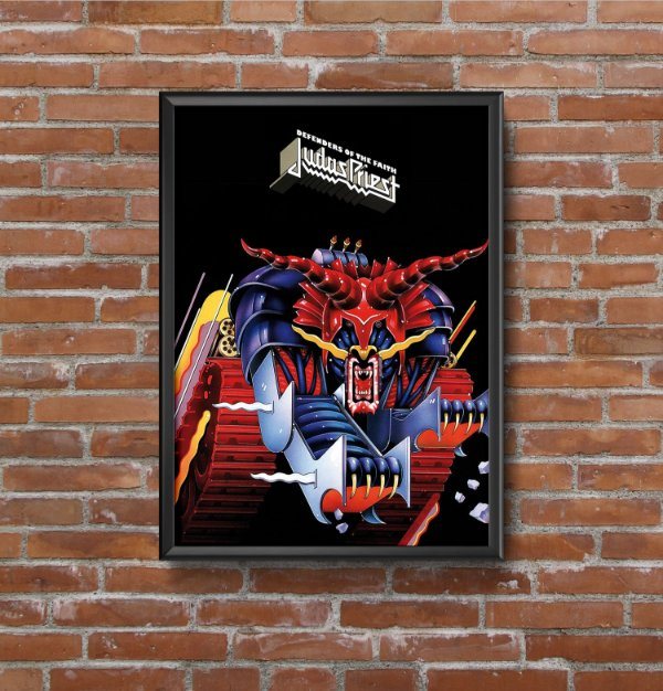 Quadro Placa Decorativo Vertical Banda Judas Priest Defenders Of The Faith Azul & Vermelho