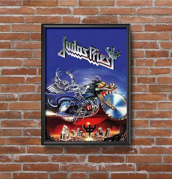 Quadro Placa Decorativo Banda Judas Priest Painkiller Azul & Prata