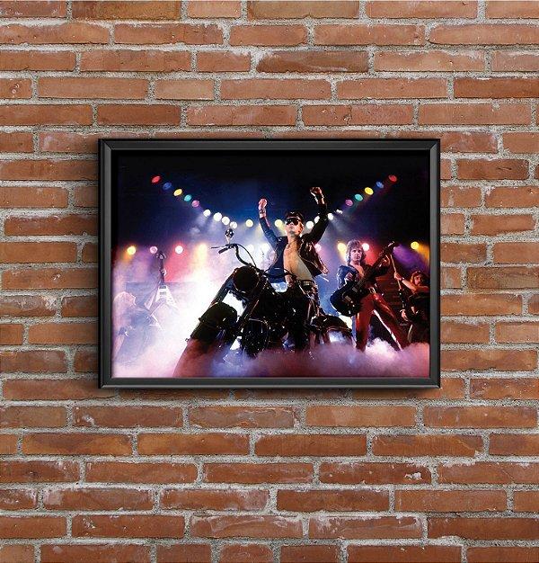 Quadro Placa Decorativo Banda Judas Priest Azul & Preto
