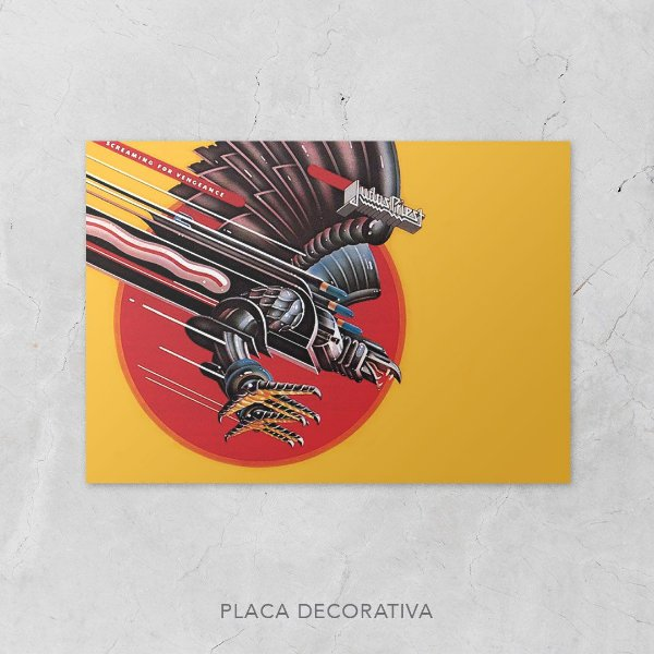 Quadro Placa Decorativo Banda Judas Priest Screaming For Vengeance Amarelo & Vermelho