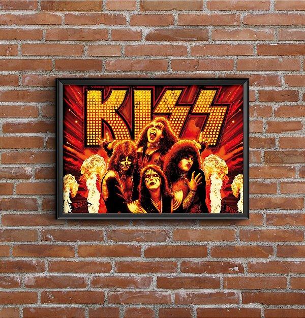 Quadro Placa Decorativo Banda Kiss Amarelo & Vermelho