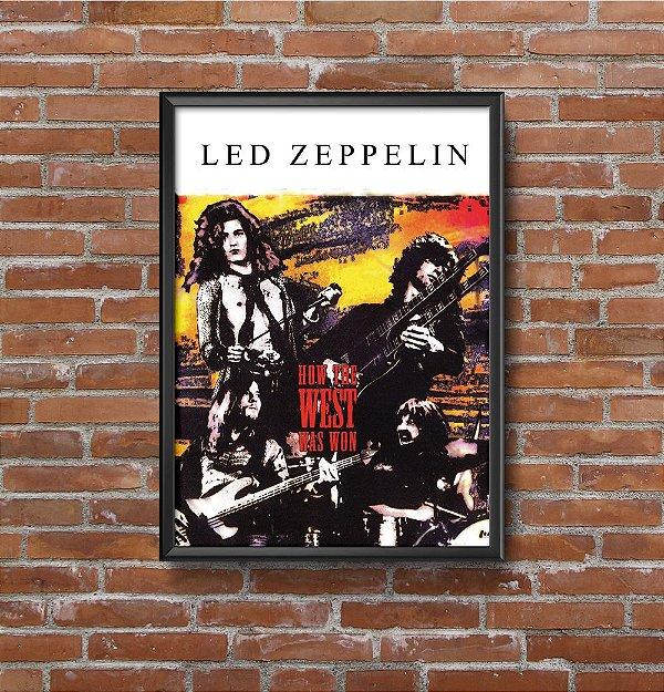 Quadro Placa Decorativo Banda Led Zeppelin How The West Was Won Preto & Branco