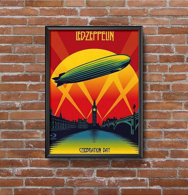 Quadro Placa Decorativo Banda Led Zeppelin Celebration Day Vermelho & Amarelo