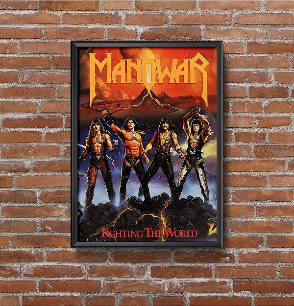 Quadro Placa Decorativo Banda Manowar Fighting The World Vermelho & Amarelo