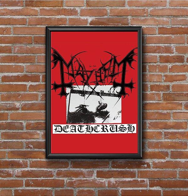 Quadro Placa Decorativo Banda Mayhem Deathcrush Vermelho & Preto