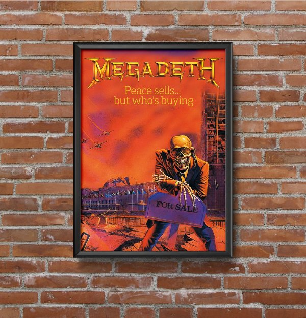 Quadro Placa Decorativo Banda Megadeth Peace Sells... But Who's Buying? Vermelho & Azul
