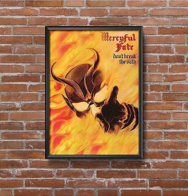 Quadro Placa Decorativo Banda Mercyful Fate Don't Break The Oath Amarelo & Vermelho