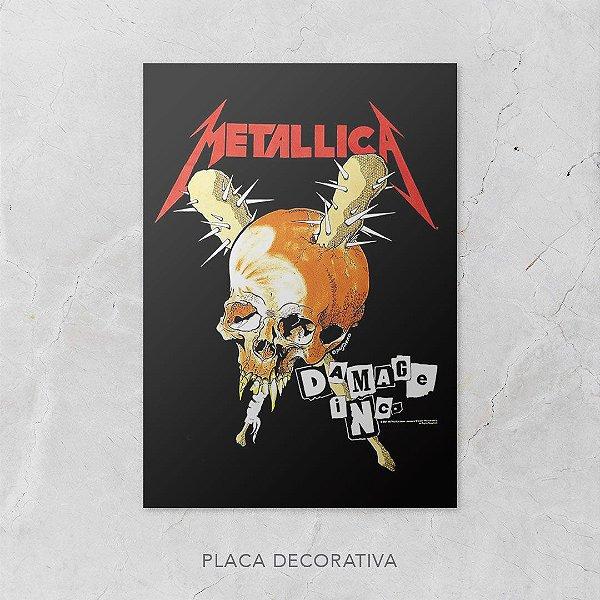 Quadro Placa Decorativo Banda Metallica Damage Inc. Preto & Vermelho