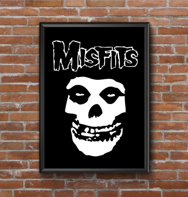 Quadro Placa Decorativo Banda Misfits Preto & Branco