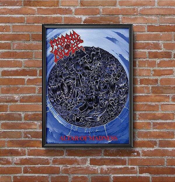 Quadro Placa Decorativo Banda Morbid Angel Altars Of Madness Azul & Vermelho