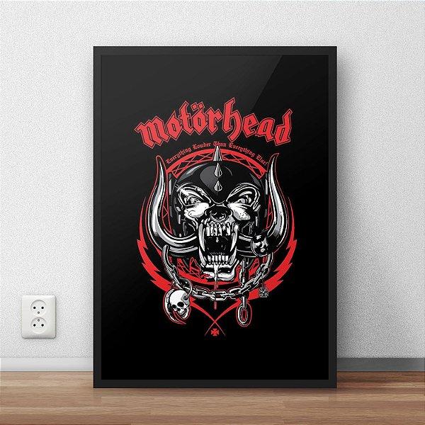 Quadro Placa Decorativo Banda Motorhead Everything Louder Than Everyone Else Preto & Vermelho
