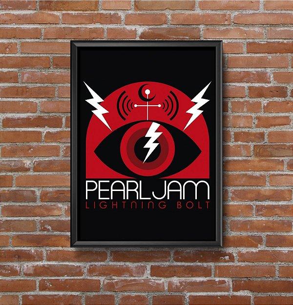 Quadro Placa Decorativo Banda Pearl Jam Lightning Bolt Preto & Vermelho
