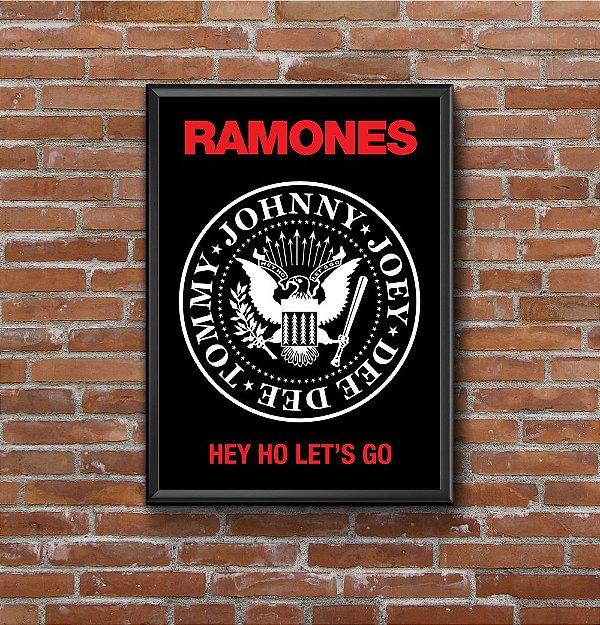 Quadro Placa Decorativo Banda Ramones Hey! Ho! Let's Go! Preto & Vermelho