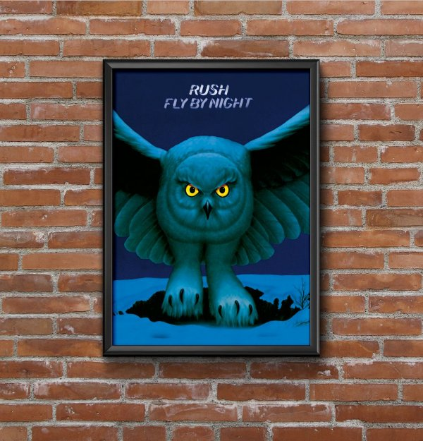 Quadro Placa Decorativo Banda Rush Fly By Night Azul & Preto