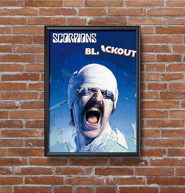Quadro Placa Decorativo Banda Scorpions Blackout Azul & Preto