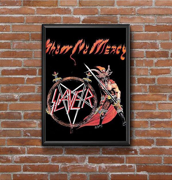 Quadro Placa Decorativo Banda Slayer Show No Mercy Preto & Vermelho