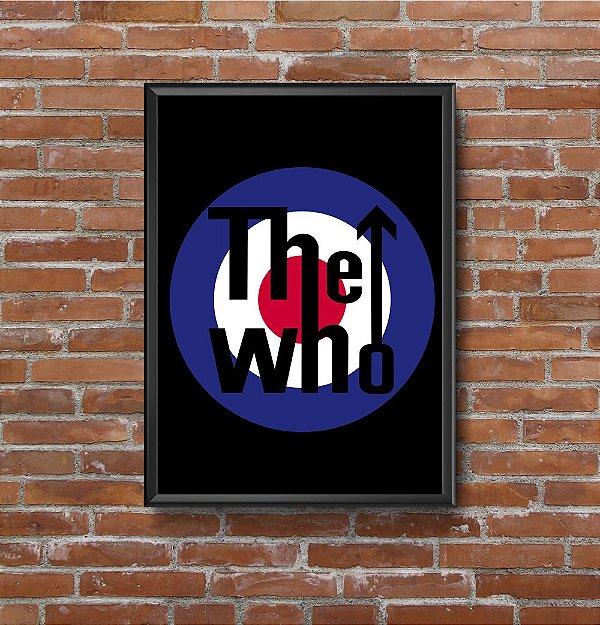 Quadro Placa Decorativo Banda The Who Preto & Azul