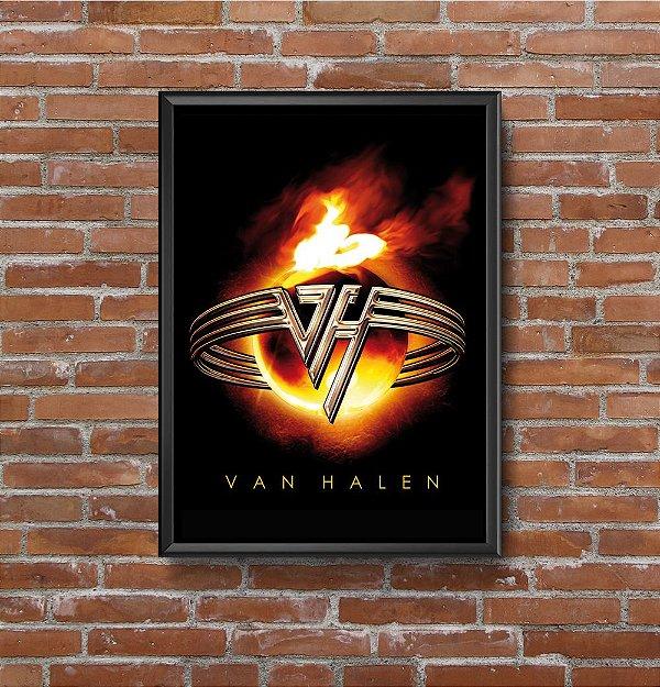 Quadro Placa Decorativo Banda Van Halen Preto & Vermelho