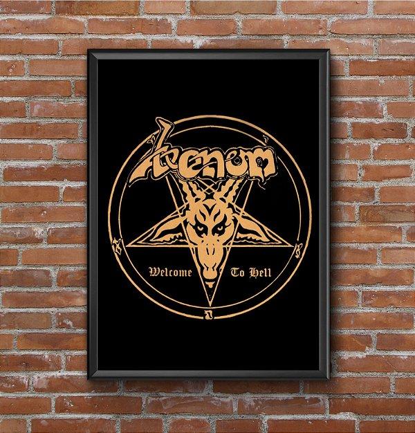 Quadro Placa Decorativo Banda Venom Welcome To Hell Preto & Amarelo