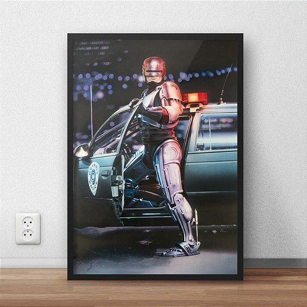 Quadro Placa Decorativo Filme Robocop Prata & Preto