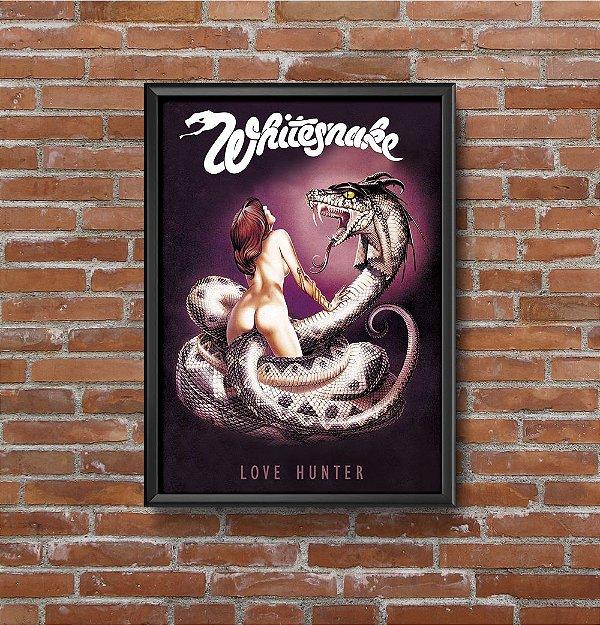Quadro Placa Decorativo Banda Whitesnake Love Hunter Preto & Rosa