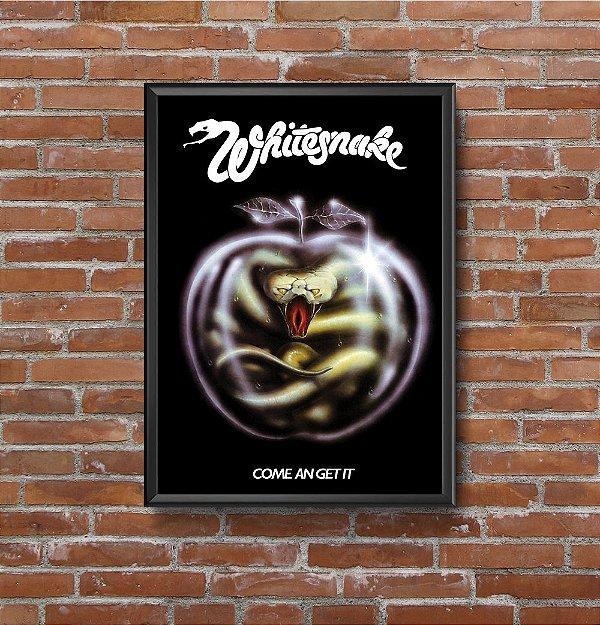 Quadro Placa Decorativo Banda Whitesnake Come An' Get It Preto & Branco