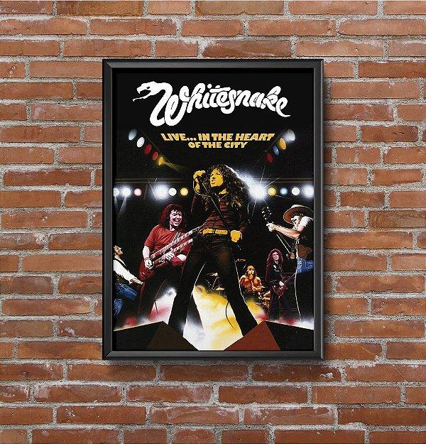 Quadro Placa Decorativo Banda Whitesnake Live... In The Heart Of The City Preto & Branco