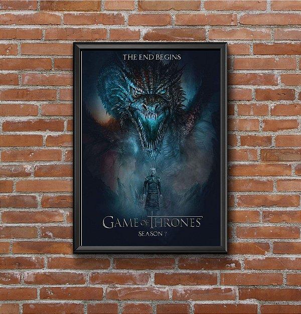 Quadro Placa Decorativo Série Game Of Thrones The End Begins Temporada 7 Preto & Azul