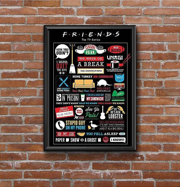 Quadro Placa Decorativo Série Friends Preto & Branco