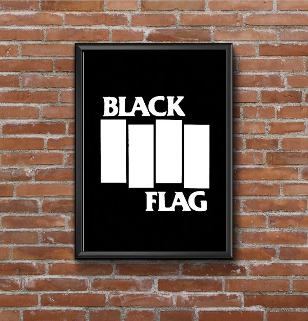 Quadro Placa Decorativo Banda Black Flag Preto & Branco