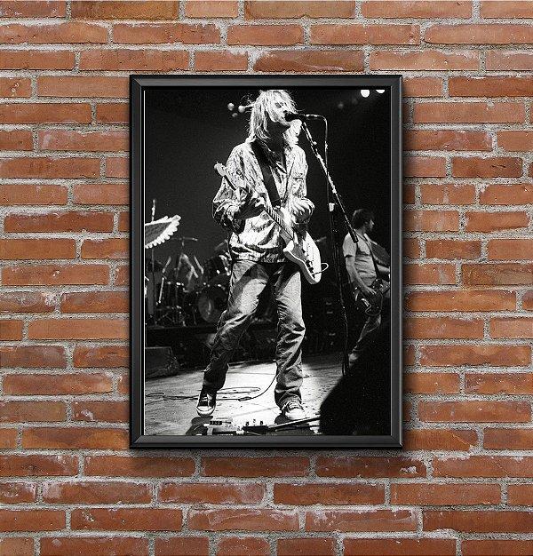 Quadro Placa Decorativo Kurt Cobain Preto & Branco