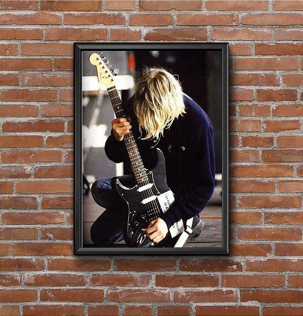 Quadro Placa Decorativo Kurt Cobain Preto & Azul