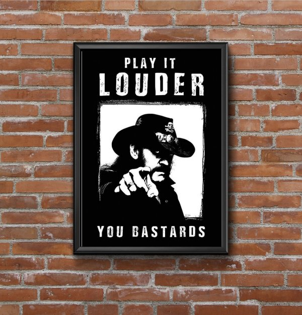 Quadro Placa Decorativo Lemmy Kilmister Motorhead - Play It Louder Preto & Branco