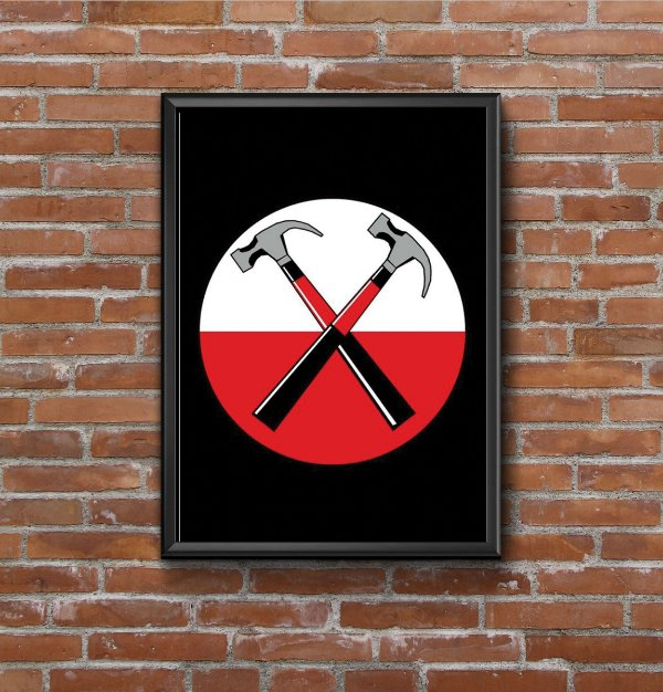 Quadro Placa Decorativo Banda Pink Floyd The Wall Hammers Preto & Vermelho