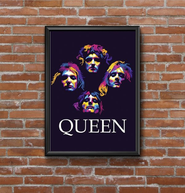 Quadro Placa Decorativo Banda Queen Azul & Rosa